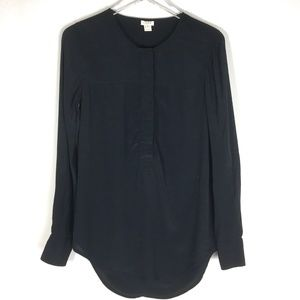 J. Crew Crepe Covered Button Henley Blouse XS